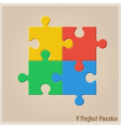 Four colourful puzzle pieces vector