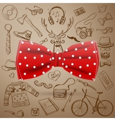 Bow tie with hand-drawn hipster style elements vector