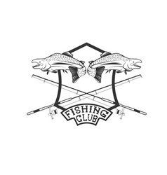 Fishing club crest with salmon vector
