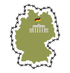 Map of germany map of states with barbed wire vector