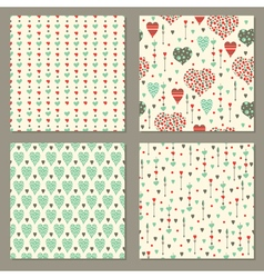 Romantic hearts seamless patterns set vector
