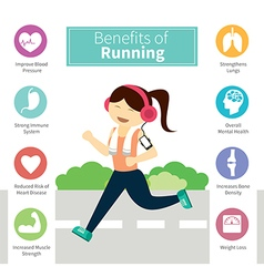 Infographic benefits of running vector