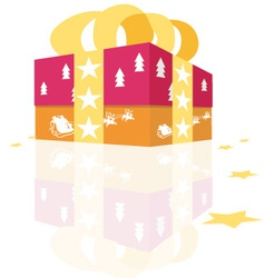 Christmas gift with stars vector