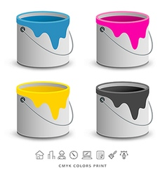 Paint colorful cans with business icons concept vector