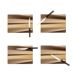 Rectangular empty wooden cutting boards with knive vector