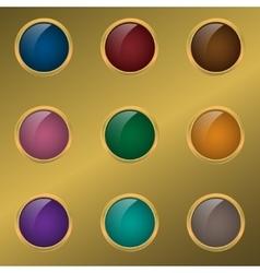 Colored button set vector