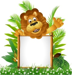 Lion cartoon with blank sign vector