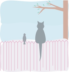 A cat and a bird on the fence vector