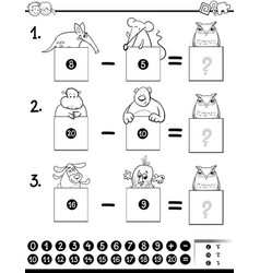 Addition educational game coloring page vector