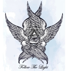 All seeing winged eye of providence vector