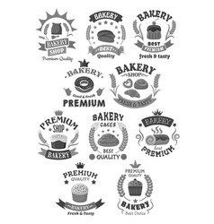 bakery bread and pastry cakes icons set vector image