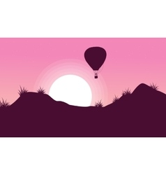 Beautiful landscape of hot air balloon silhouettes vector