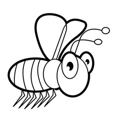 Bee cartoon bug life coloring page for toddl vector