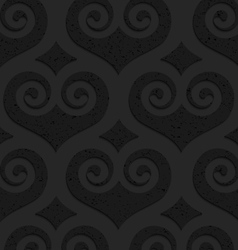 Black textured plastic swirly hearts with diamonds vector image vector image