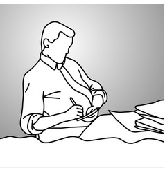businessman writing down on paper on his desk vector image
