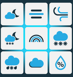 Climate colored icons set collection of wind fog vector