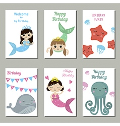 Collection of cute Birthday cards vector image vector image