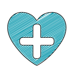 Color pencil drawing of heart with cross inside vector