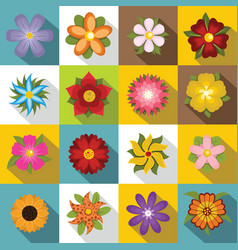 different flowers icons set flat style vector image