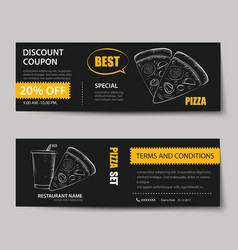 fast food coupon discount template flat design vector image