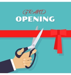 Grand opening Scissors cut red ribbon vector image vector image