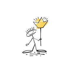 Hand drawing sketch human stick figure with shiny vector