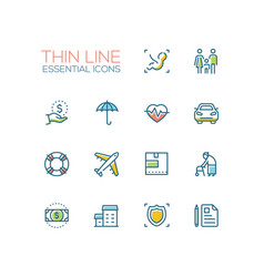 Insurance - modern single thin line icons vector