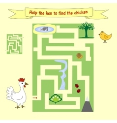 Kids homework how help a hen to find the chicken vector