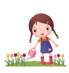 Little cute girl watering flowers vector