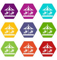 Merry go round horse ride icon set color vector