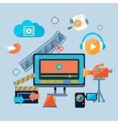 Online cinema theatre icons set vector