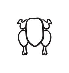 Raw chicken sketch icon vector