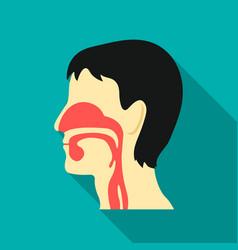 Respiratory system icon flat single medicine icon vector