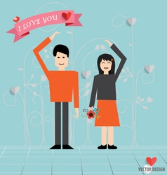 Romantic concept couple in love making heart love vector