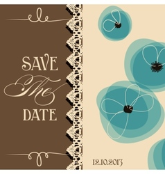 Save the date elegant invitation floral design vector image