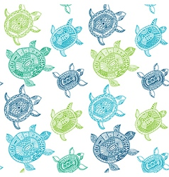 Seamless pattern with turtles Seamless pattern can vector image