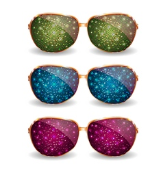 Set of disco glasses vector