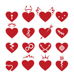 Simple abstract heart shapes icons burned vector