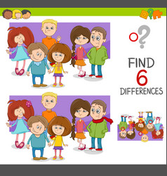Spot the differences game with kids vector