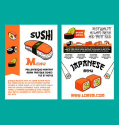 Sushi menu for japanese cuisine restaurant design vector
