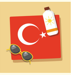 Turkey travel towel in the sand with sun glasse vector