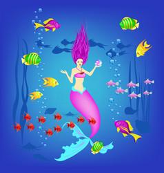 Underwater world little mermaid fishes plants vector