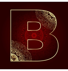 Vintage alphabet with floral swirls letter B vector image
