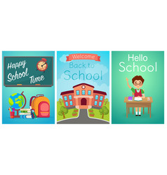 welcome back to school cute school kids templates vector image vector image
