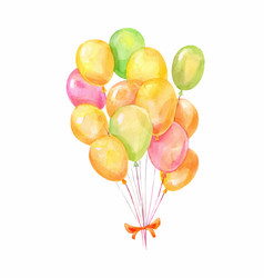 Yellow green orunge heap of ballons on white vector