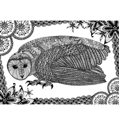 The barn owl with pattern vector