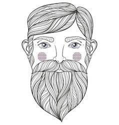 zentangle Portrait of bearder Man with vector image