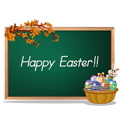 A board with a Happy Easter greeting vector image