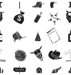 Wild west pattern icons in black style big vector