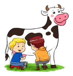 Milking a cow vector